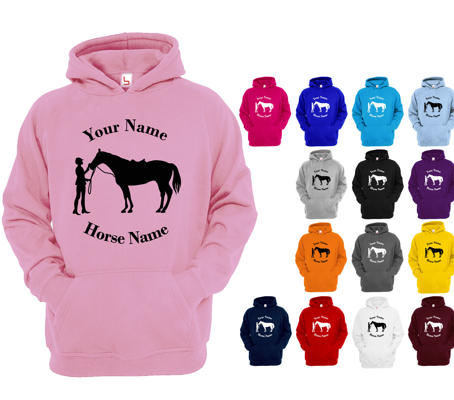 Childrens Personalised Horse Riding Hoodie Girls Glitter Hoody Kids Gift