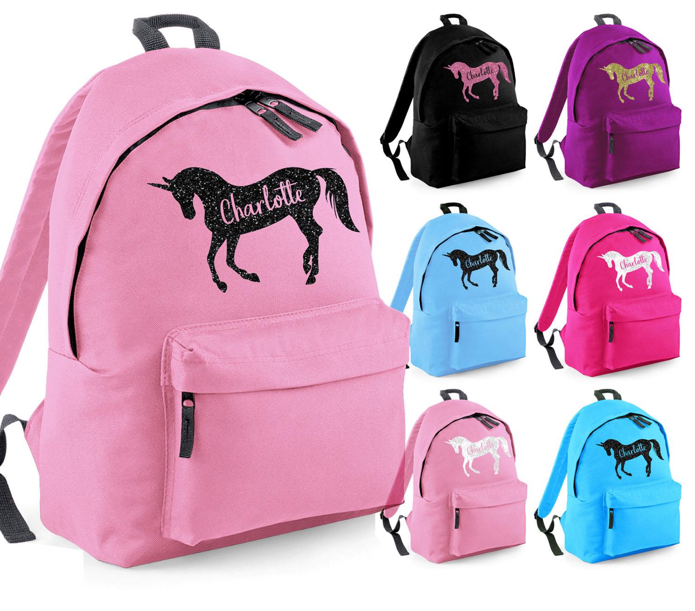GIRLS PERSONALISED GLITTER HORSE RIDING BARREL BAG KIDS BOYS SCHOOL PE KIT GIFT