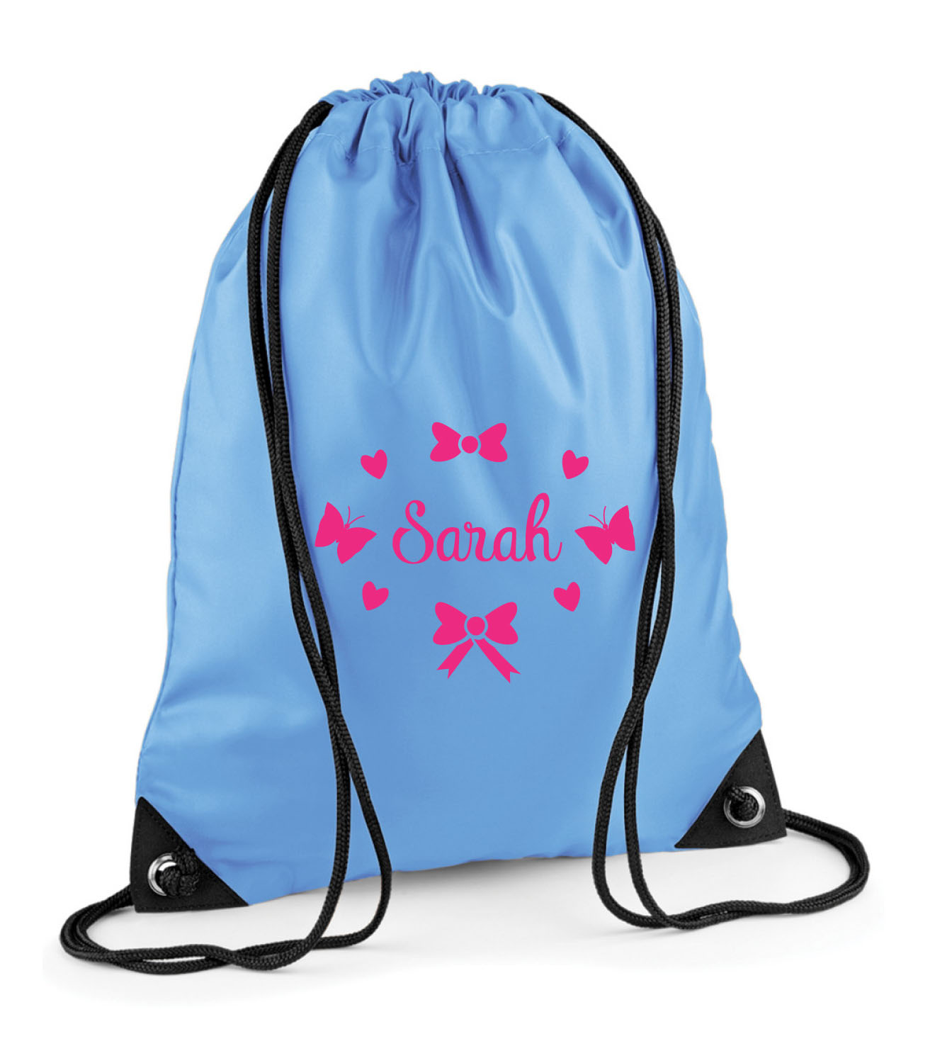 PERSONALISED BUTTERFLIES /& HEARTS DANCE GYM GYMNASTICS GIRLS PE PULL STRING BAG