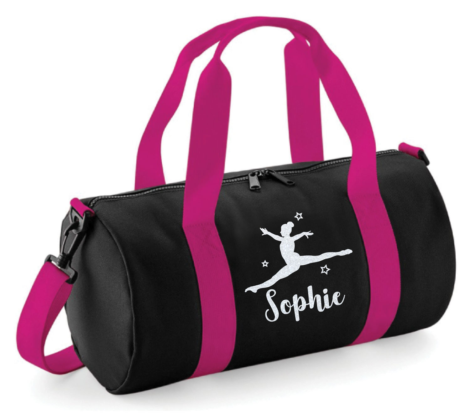 """Dance Personalised Costume Bag Cover with Glitter Print /"""" Gymnastics/"""" Ballet"""