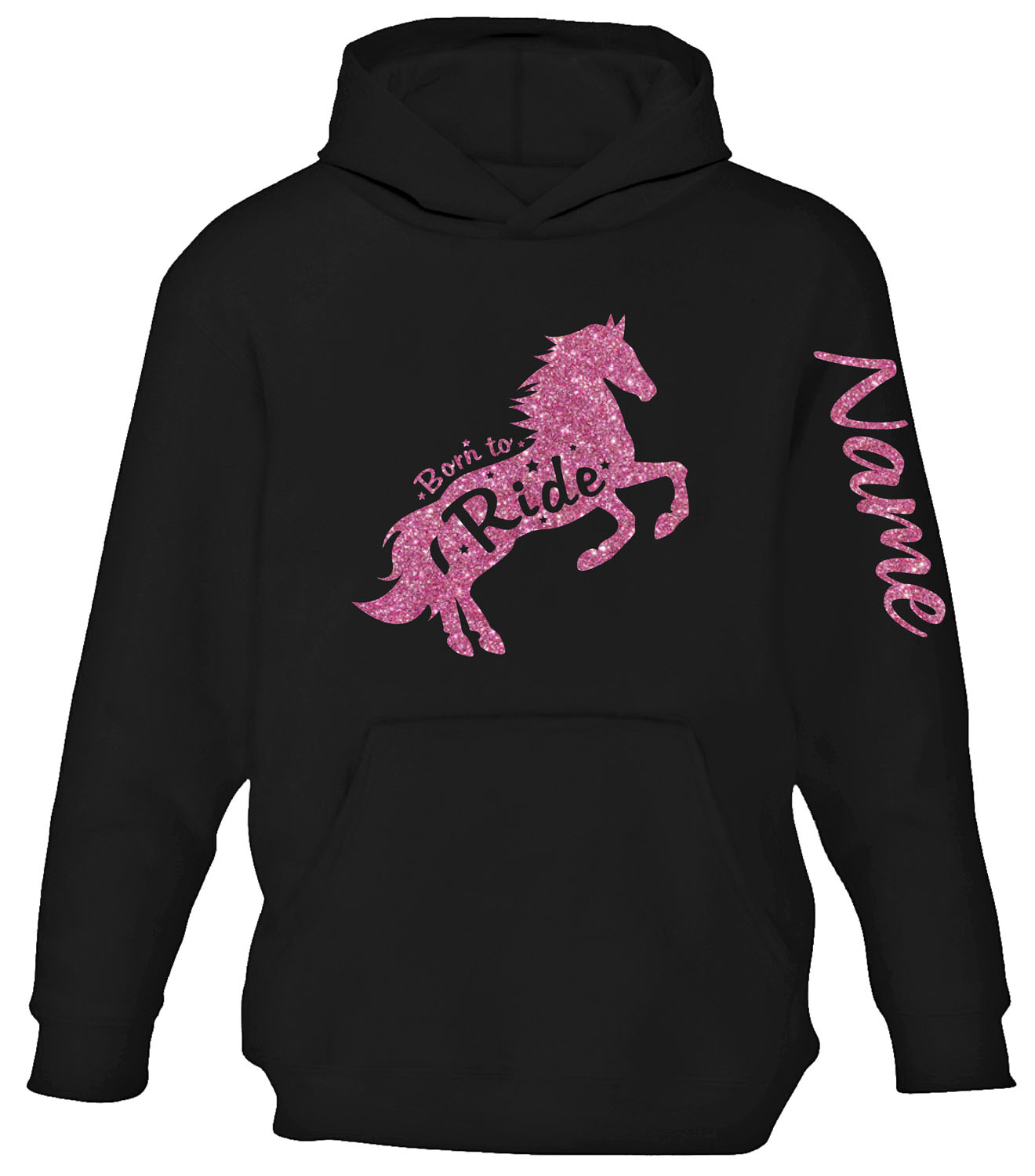 KIDS CHILDREN/'S HORSE RIDING PERSONALISED NAME HOODIE **IN GLITTER!**
