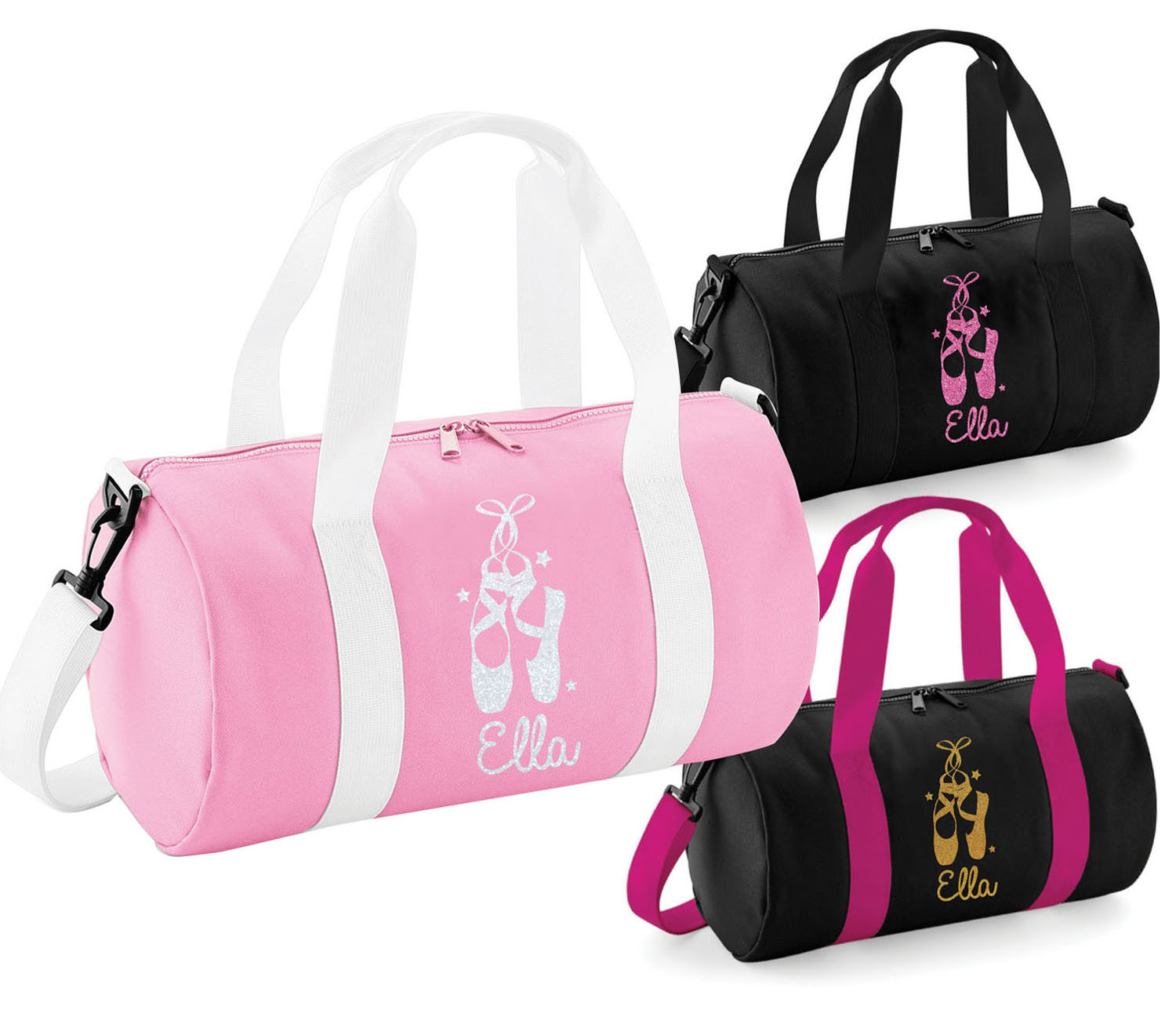 Clothes, Shoes & Accessories Children's Dancewear Personalised Ballet Bag with Glitter Print      Gymnastics Dance & Gym Bags