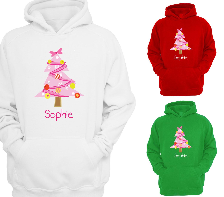 Personalised Childrens Christmas Tree Hoodie Girls Hoody Xmas Kids Gift Beyondsome