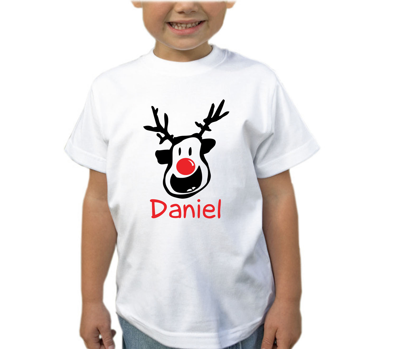 Personalised Kids Boys Girls T-Shirt Christmas Xmas Custom Your Name T Shirt