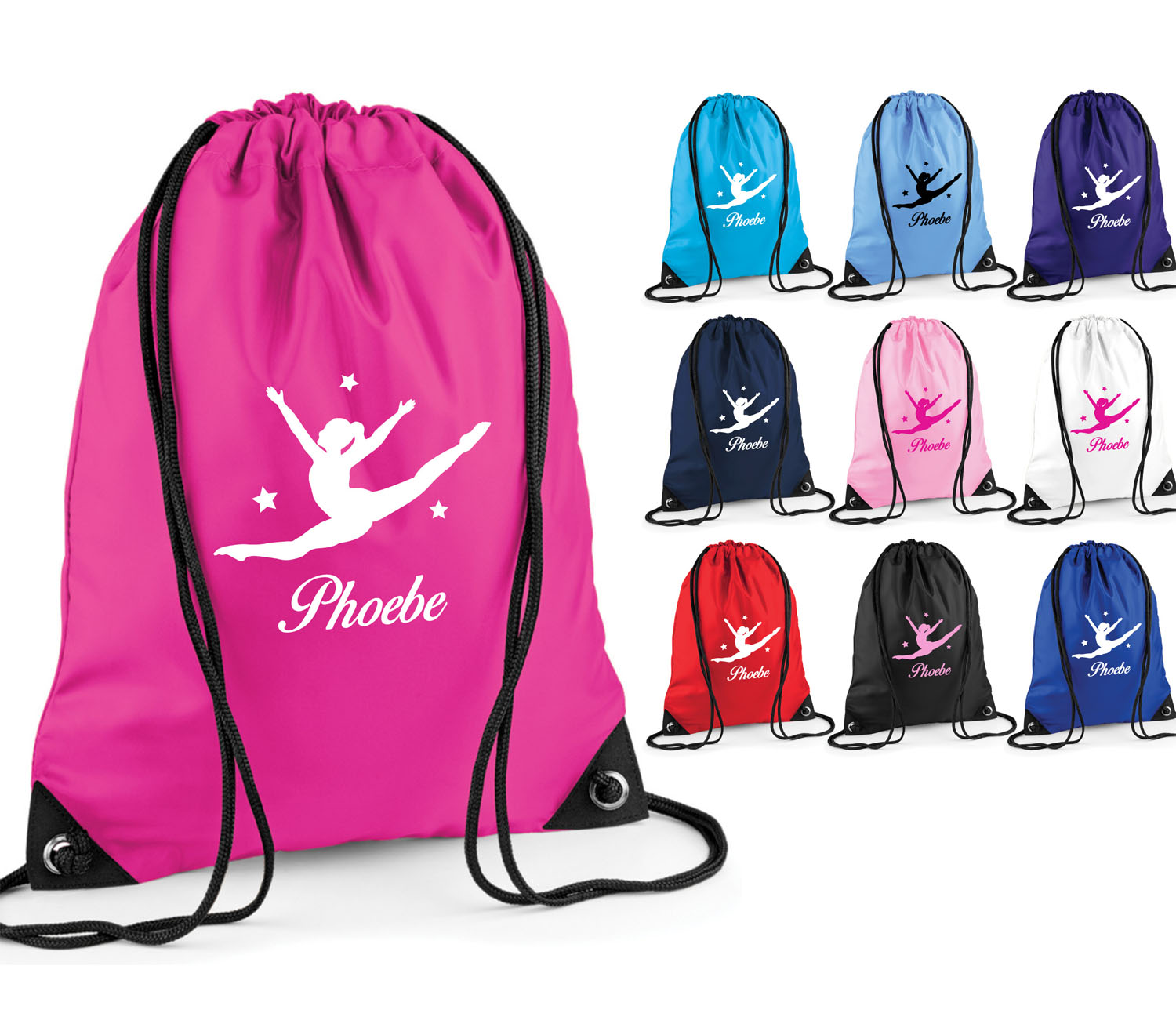 GIRLS PERSONALISED DANCE  BAG KIDS SPLIT JUMP PULL STRING BALLET KIT JAZZ GIFT