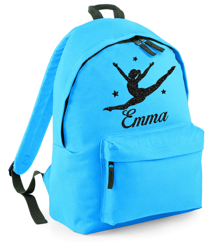 Personalised GYMNAST Rucksack Backpack School Travel Gymnastics Bag Red BG125